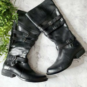 Born Odom Black Leather Knee High Buckle Flat Boot
